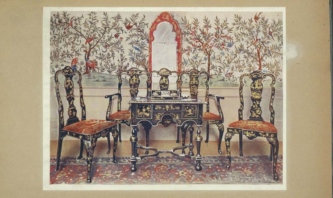 Black lacquer settee, chairs and table, red lacquer mirror. Property of Viscountess Wolseley. Wall-paper at Wotton-Under-Edge. Property of V. R. Perkins, Esq.