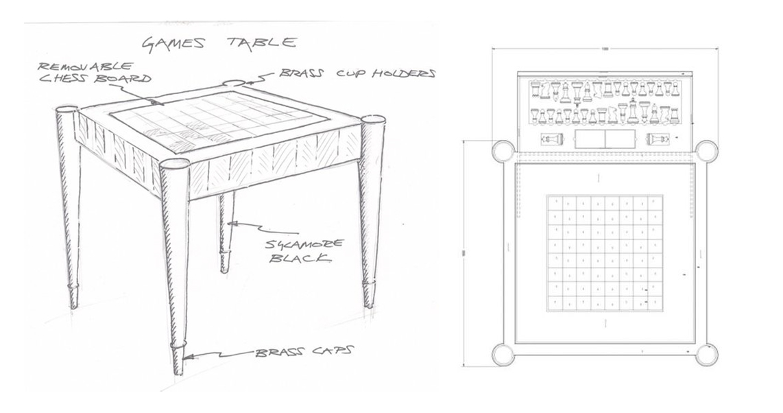 Davidson London - sketches of the Aldridge Games Table