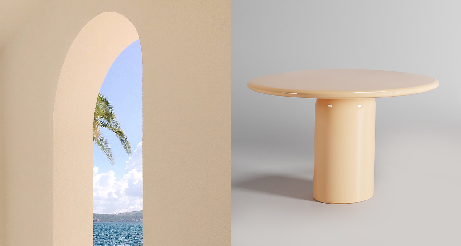 The Cylinder Dining Table with Orbit top in colour Malta