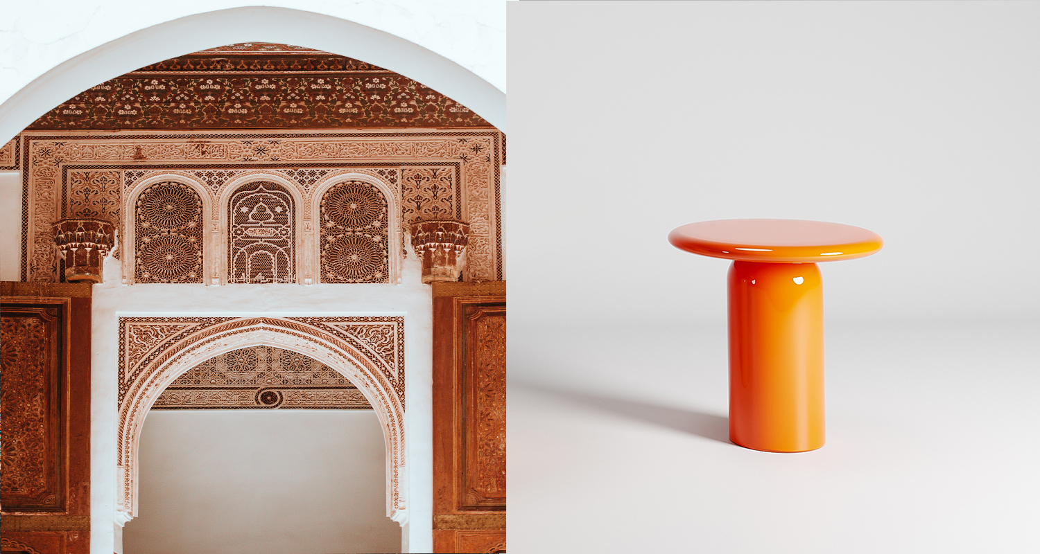 The Cylinder Occasional Table with Orbit top in colour Marrakesh