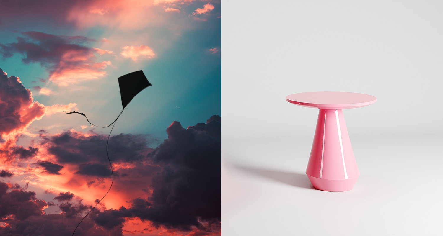The Kite Occasional Table with Rivington top in colour Bermuda