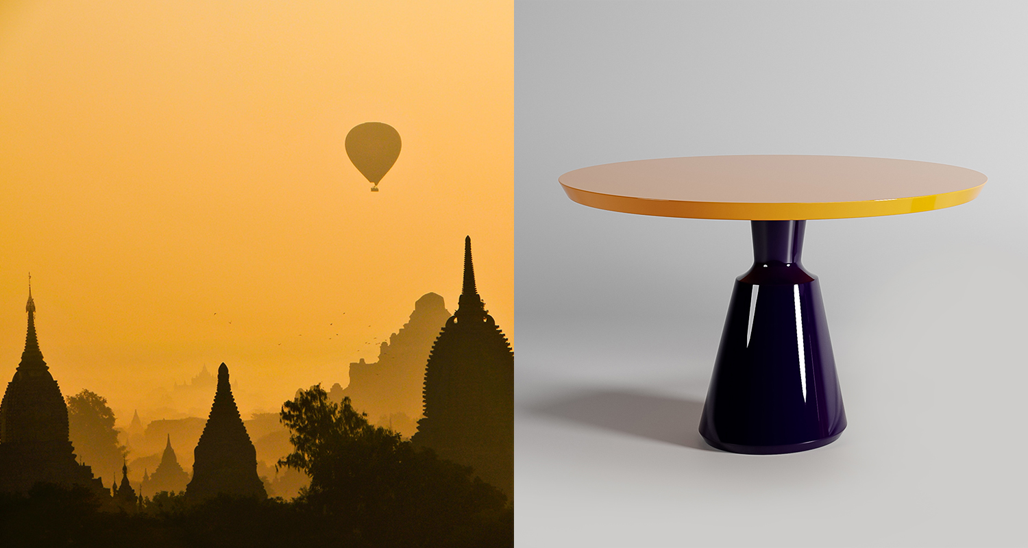 The Vase Dining Table with Slant Top in colours Buenos Aires and Sahara
