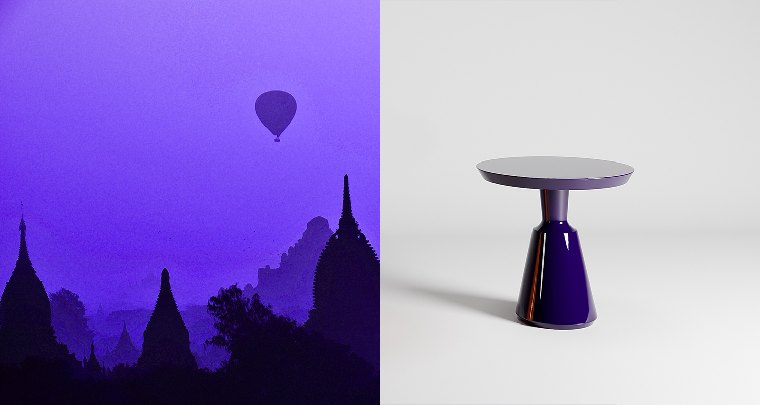 The Vase Occasional Table with Slant Top in colour Buenos Aires